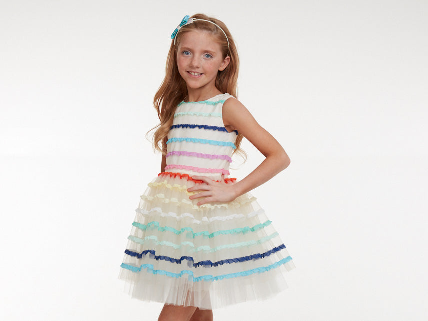 Stripped Ribbon Tulle Dress