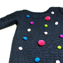3D Knit Dress with Pom Poms