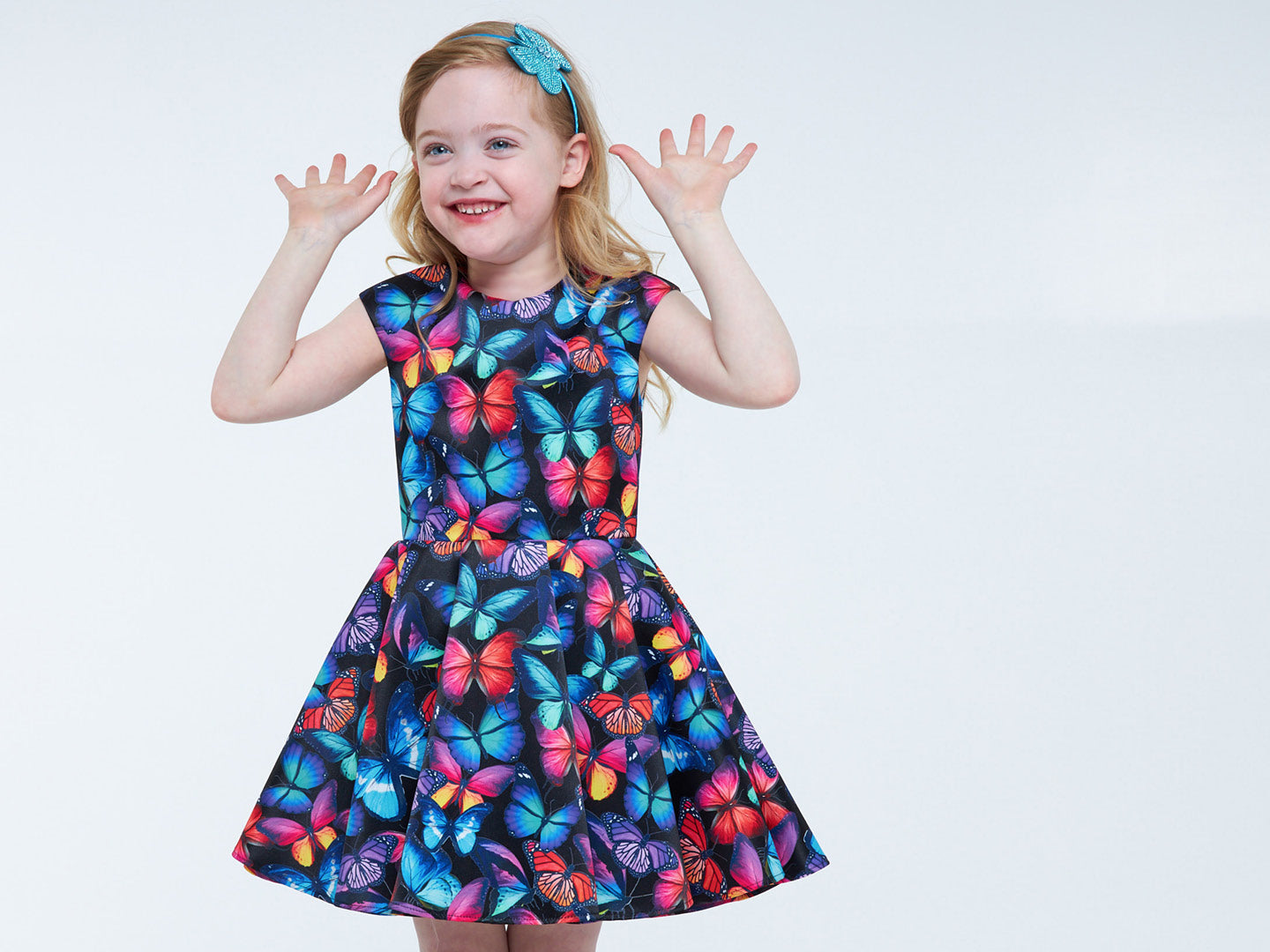 All over butterfly print dress