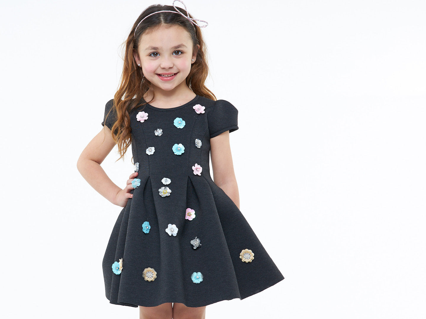 Scuba dress with sequin flowers