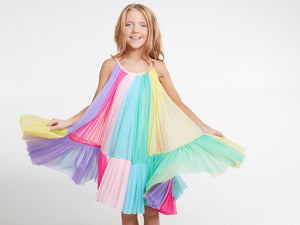 Rainbow Color Blocked Mesh Circle Dress
