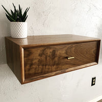 Floating Solid Walnut Nightstand With Drawer - Two Moose Design