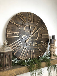 """The Bailey-Monogram"" Big 3D Roman Numeral Wall Clock - Two Moose Design"