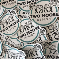 Two Moose Design Stickers