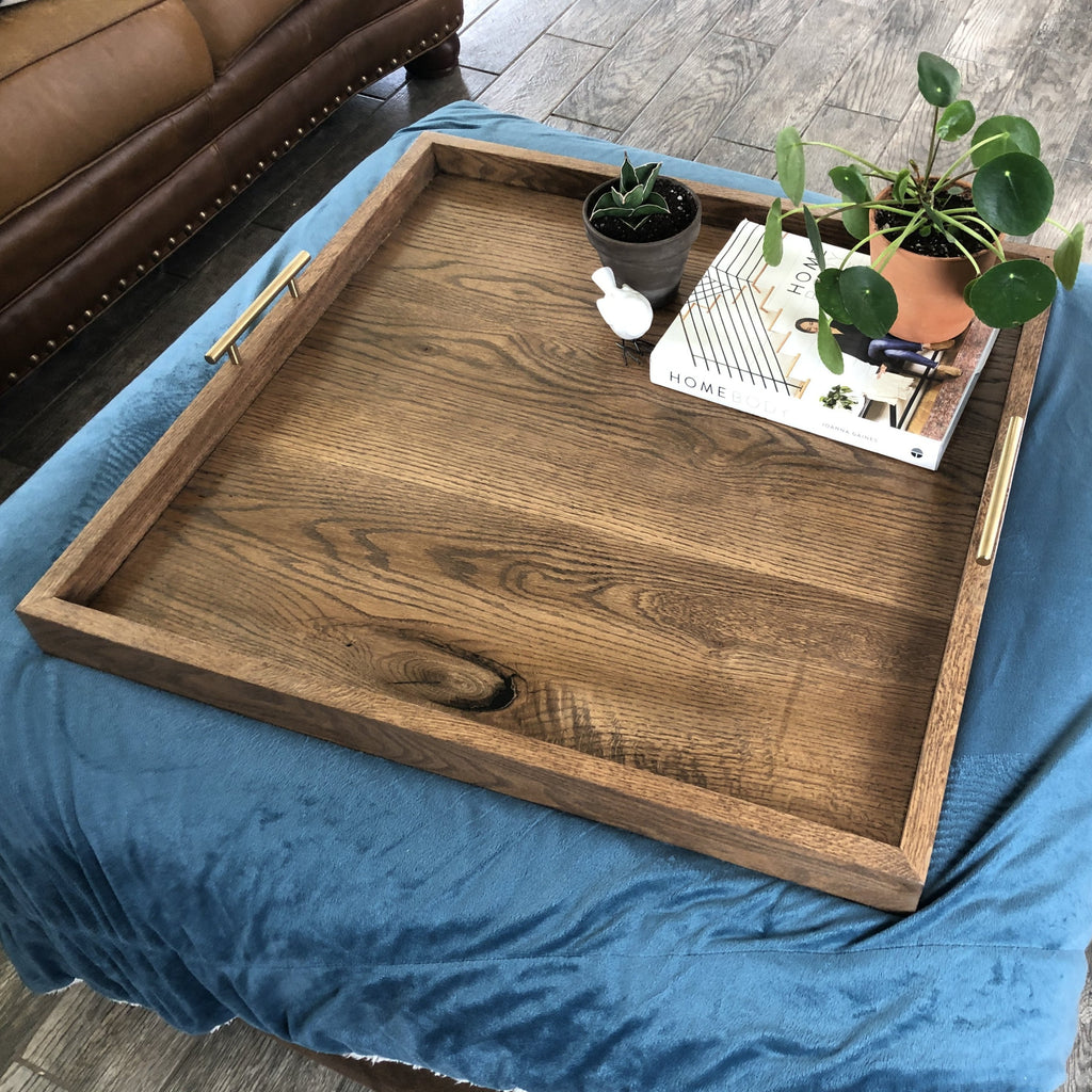 Oversized Solid Oak Ottoman Tray - Two Moose Design