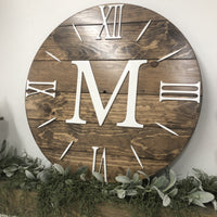 """The Nathalie-Monogram"" Simple Farmhouse Clock - Two Moose Design"