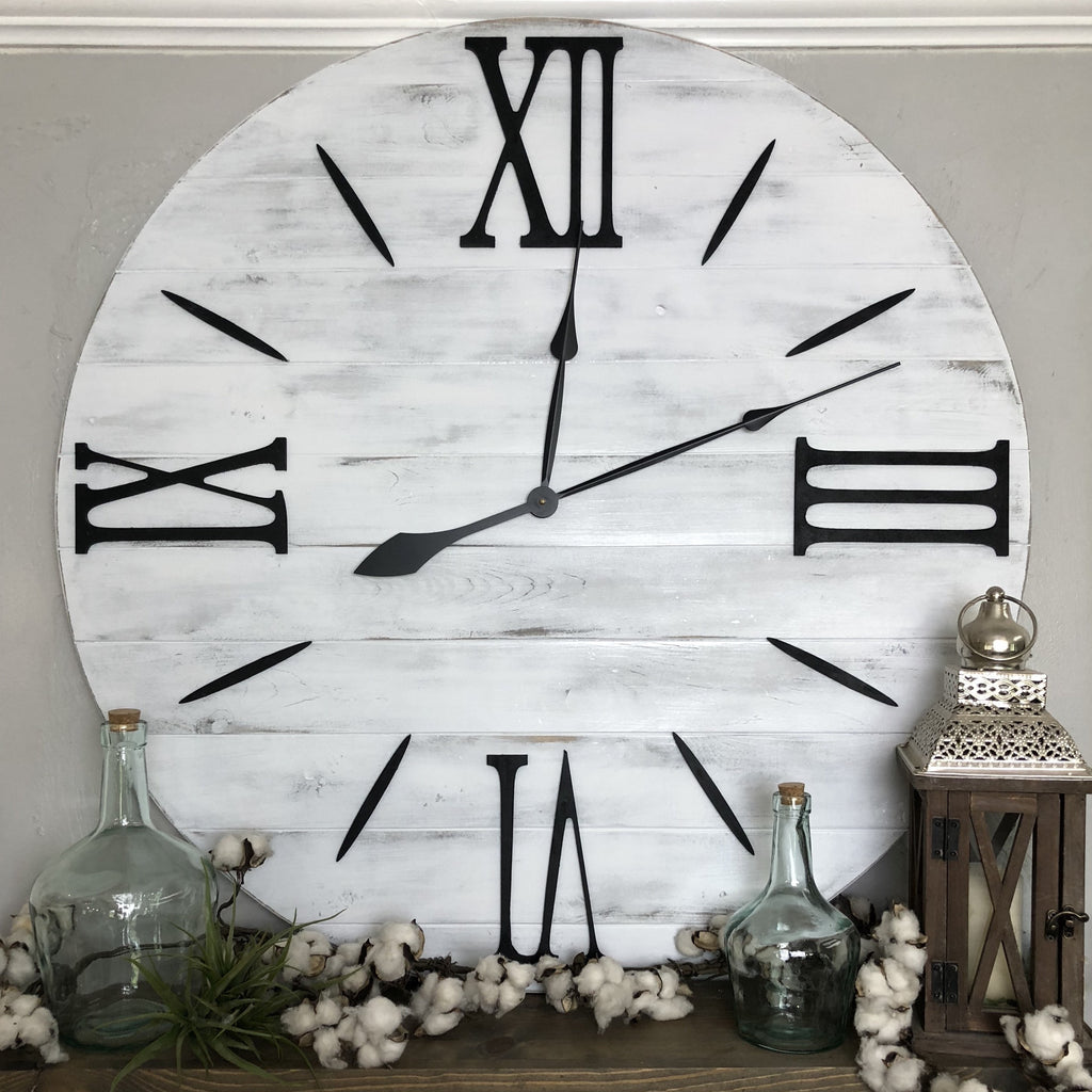 """The Nathalie"" Roman Numeral Farmhouse Wall Clock - Two Moose Design"