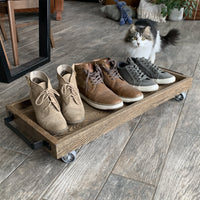 Solid Oak Boot Tray - Two Moose Design