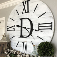 Large decorative oversized mantel wall clock custom furniture 3d Roman numeral numbers handmade monogram