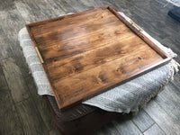 English Chestnut Ottoman Tray - Two Moose Design