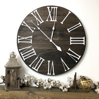 """The Bailey"" Big 3D Roman Numeral Wall Clock - Two Moose Design"