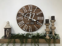 """The Bailey-Monogram"" Big 3D Roman Numeral Wall Clock"