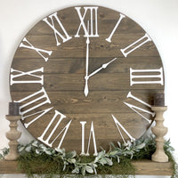 Large decorative oversized mantel wall clock 3d Roman numeral numbers handmade