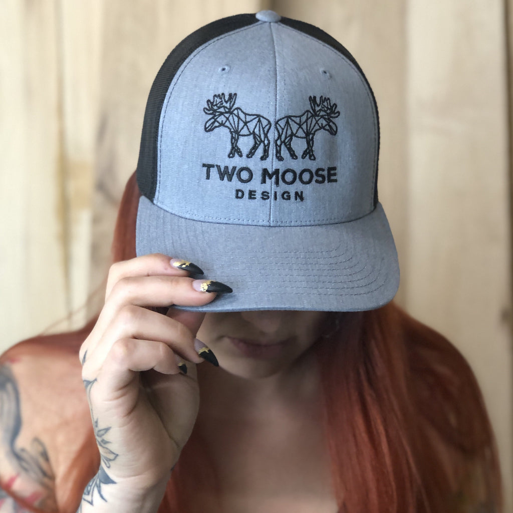 GREY & BLACK TWO MOOSE HAT - Two Moose Design