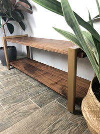 Walnut Bench -Pick Your Size- Metal & Walnut Modern Shoe Bench Industrial Entryway Bench Hardwood Mid Century Shoe Rack Shoe Organizer