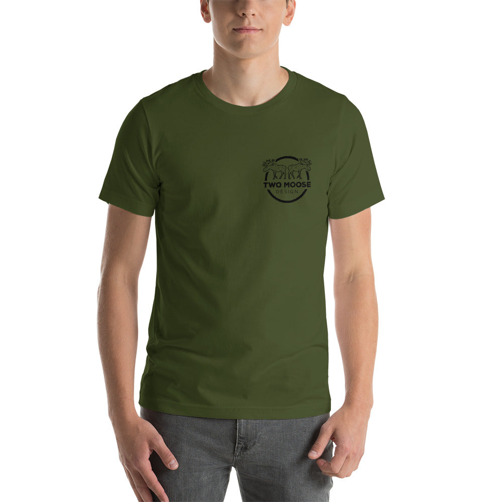 Short-Sleeve Crest Logo Unisex T-Shirt - Two Moose Design