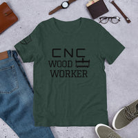 CNC WOODWORKERShort-Sleeve Unisex T-Shirt - Two Moose Design