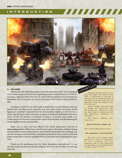 24950 CAV: STRIKE OPERATIONS CORE RULEBOOK (FACTION SQUAD BUNDLE)