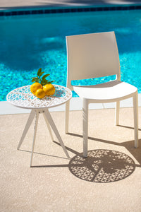 "Breeze Block 19"" Round Patio Table-White"