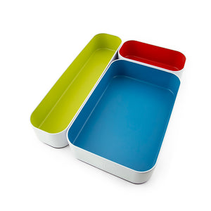 "Stacking Bin Set of 3, 2"" depth-Multi Color"
