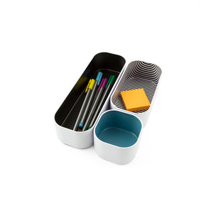 "Stacking Bin Set of 3, 2"" depth-Multi Stripes"