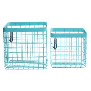 Formation Heavy-Duty Wire Bin-Medium-Turquoise