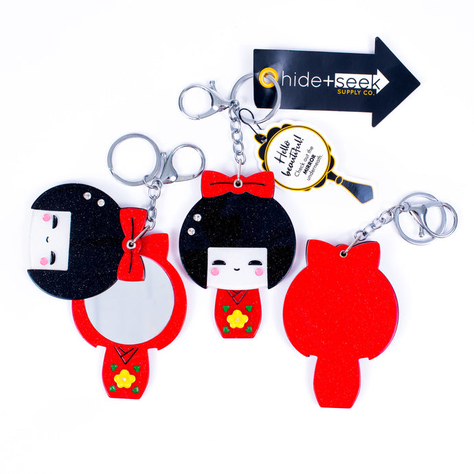 I Feel Pretty Compact+Keychain-Kokeshi Doll