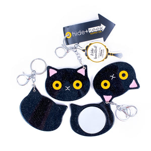 I Feel Pretty Compact+Keychain-Black Cat