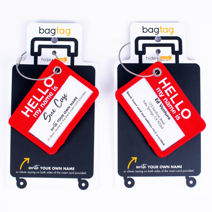 Hello My Name Is Bag Tag-red-double sided