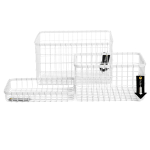 Loop Heavy-Duty Wire Bin-set of 3-White