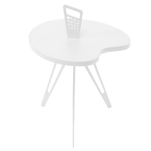 Genie Mod Shaped Side Table (Taller)-White