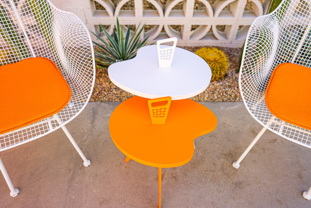Genie Mod Shaped Side Table (Shorter)-Orange