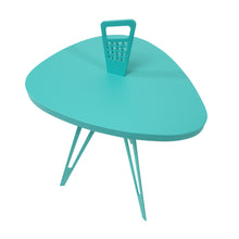 Nelson Mod Shaped Side Table (Shorter)-Turquoise