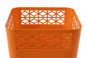Breeze Block Tapered WasteBin-Orange