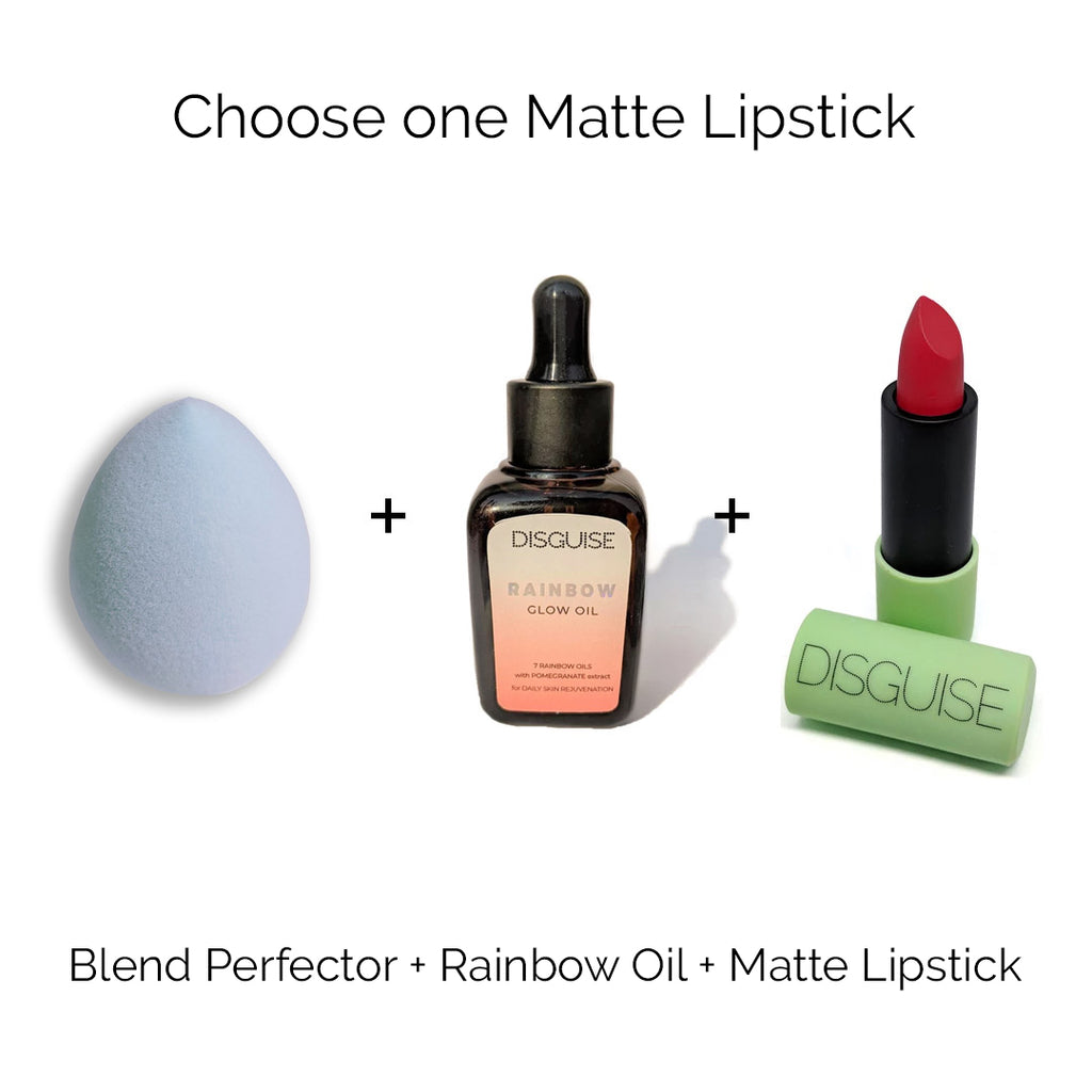 Blend Perfector + Rainbow Glow Oil + 1 Satin Matte Lipstick