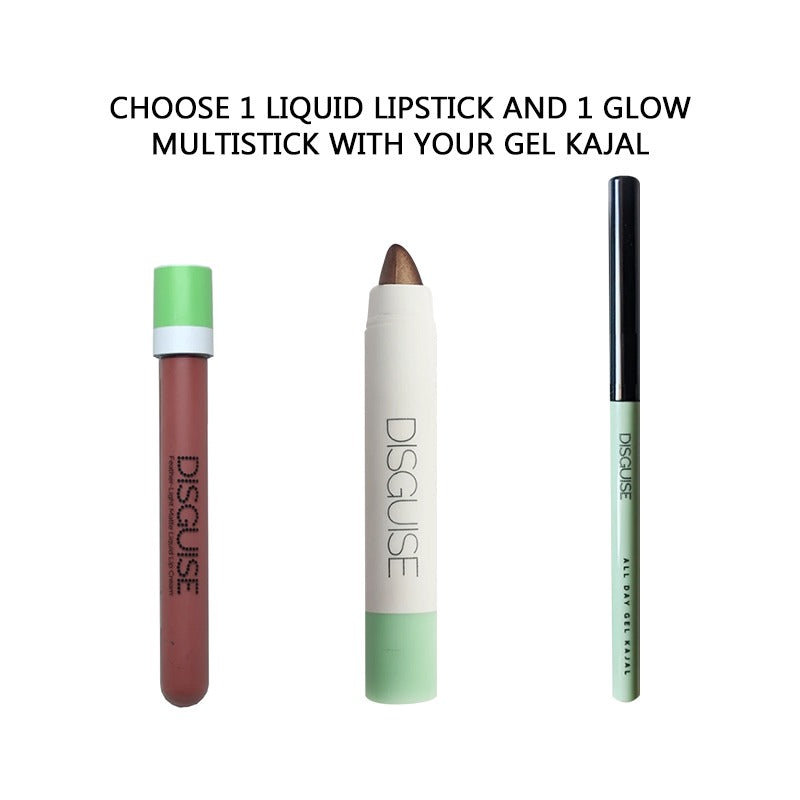 Choose 1 Liquid Lipstick and 1 Glow Multi-stick with your Gel Kajal