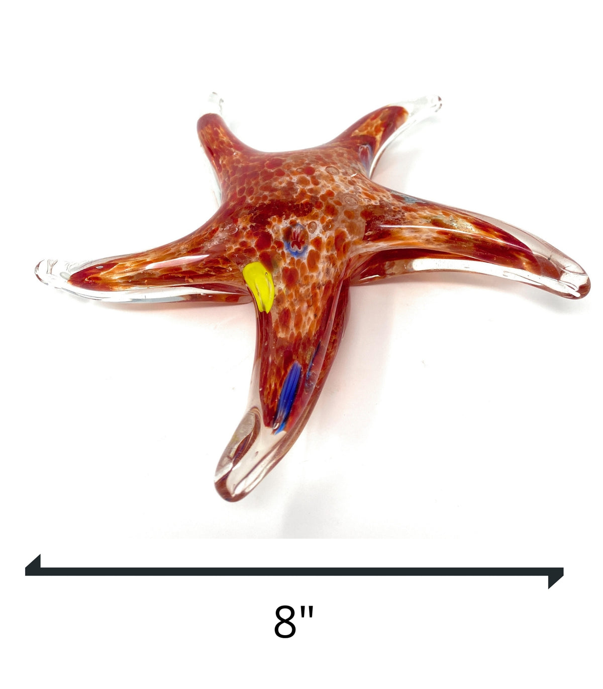 "8"" Red with Multi color Dots Hand Blown Glass Starfish Figurine SculptureCrystal Xpress"