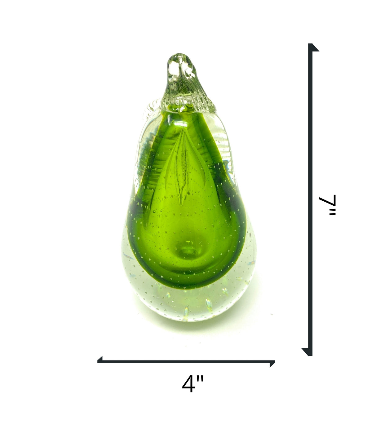 "New 7"" Hand Blown Glass Ultra Bright Pear Sculpture Figurine Different Color AvailableCrystal Xpress"