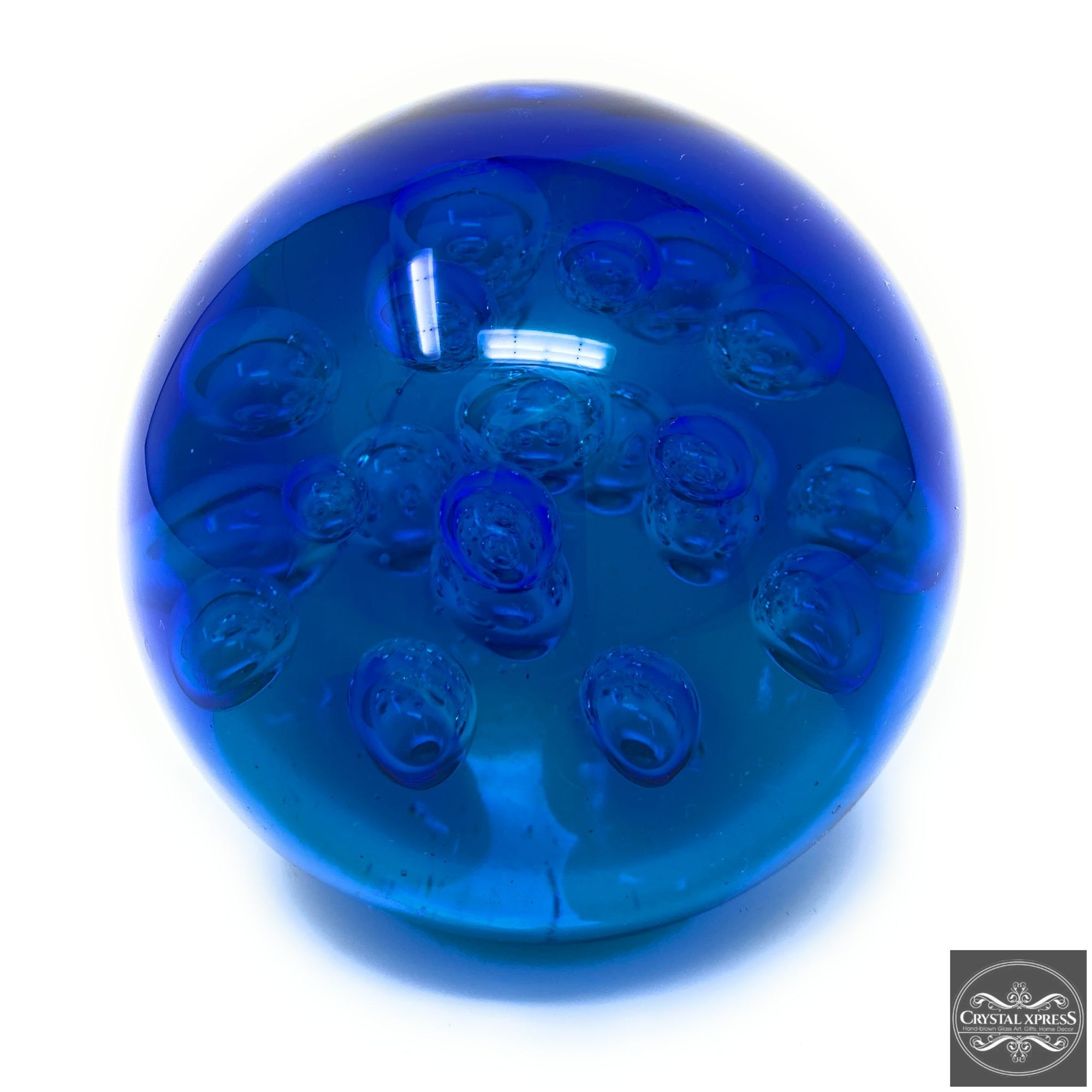 Blue Glass Ball Paperweight 7 inch DiameterCrystal Xpress