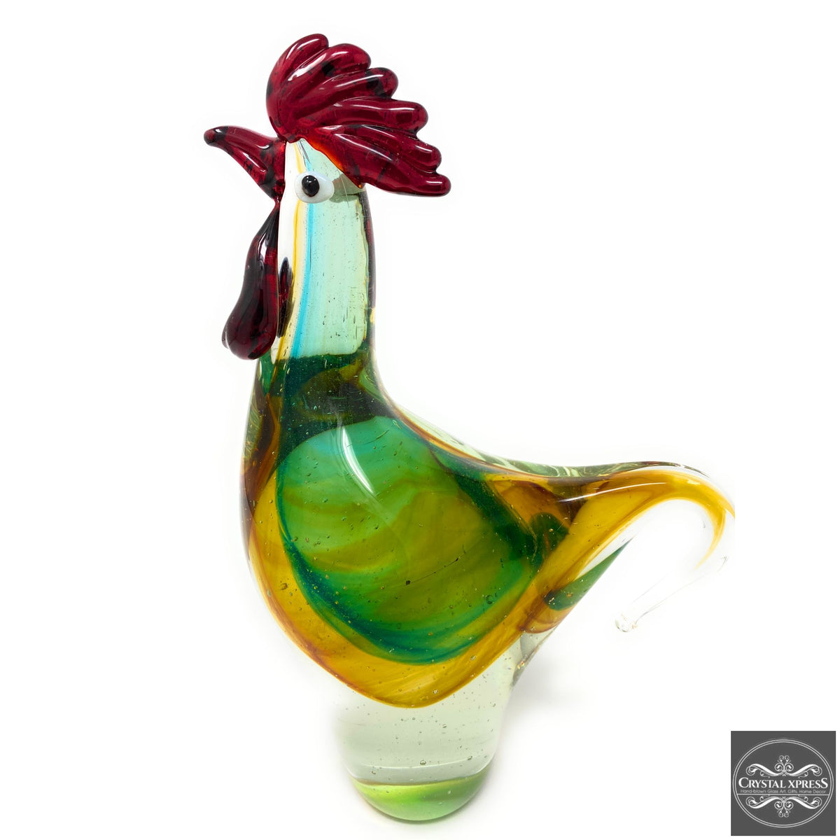 "9"" Hand Blown Glass Chicken Rooster Sculpture FigurineCrystal Xpress"