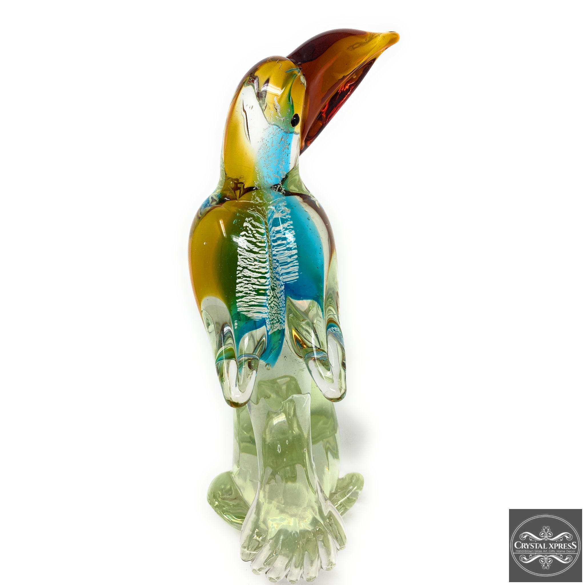 "New 13"" Colorful Toucan Bird Hand Blown Glass Art Figurine Murano Style Sculpture"