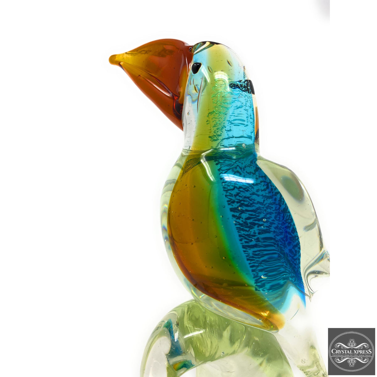 "New 13"" Colorful Toucan Bird Hand Blown Glass Art Figurine Murano Style SculptureCrystal Xpress"