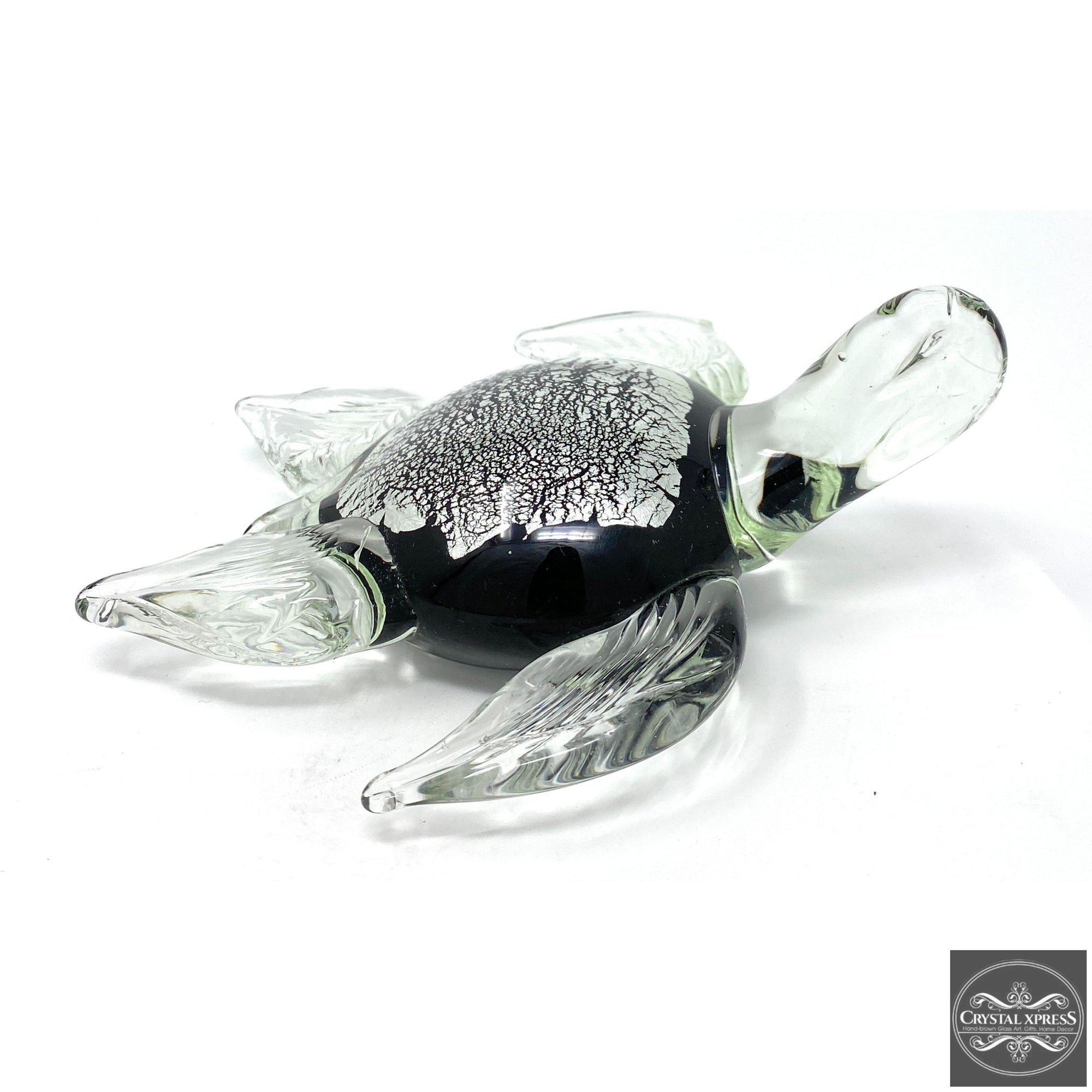 "New 7"" Hand blown Glass Sea Turtle with White and Black Spots Figurine SculptureCrystal Xpress"
