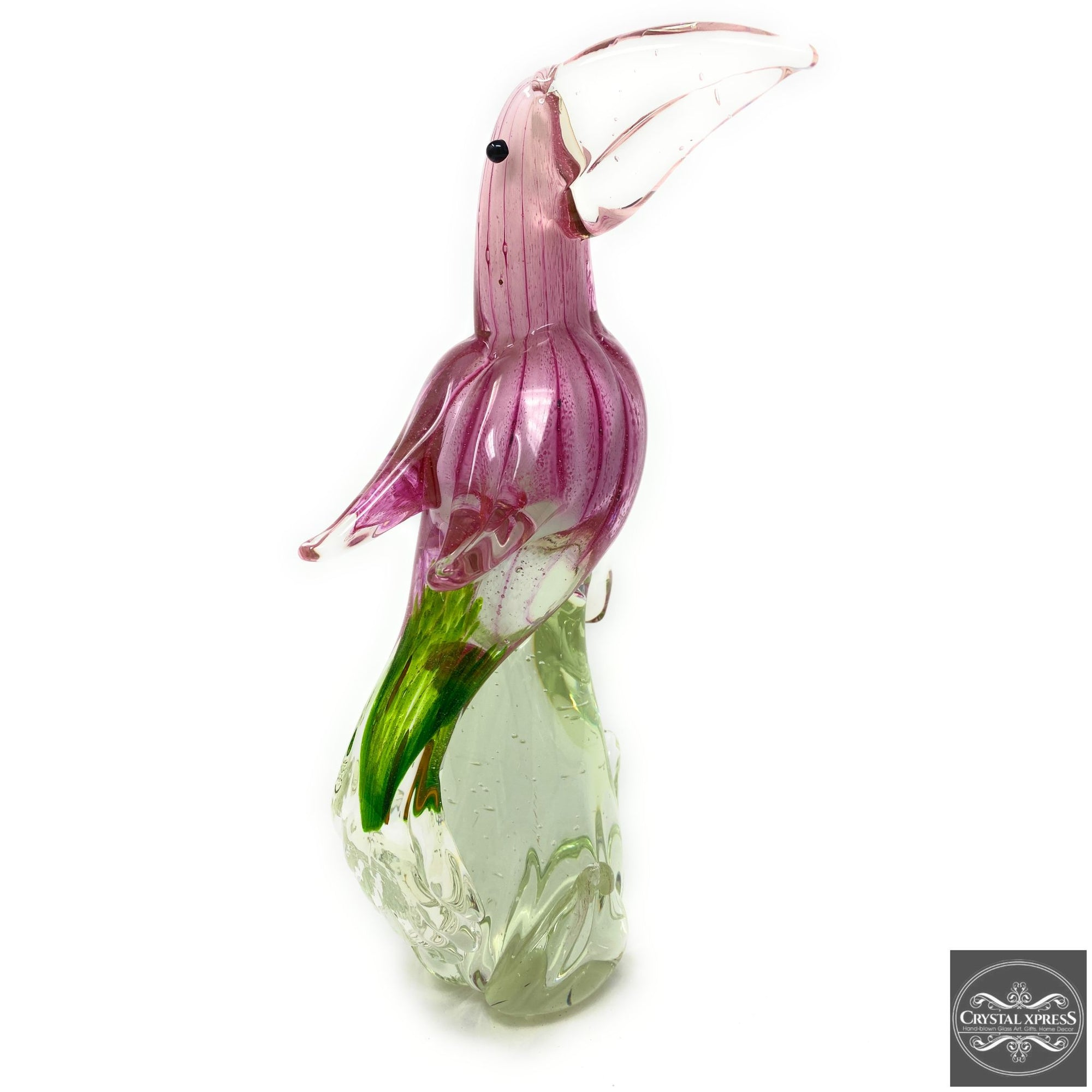 "13"" Hand Blown Glass Pink Exotic Toucon Bird Murano Style Figurine SculptureCrystal Xpress"