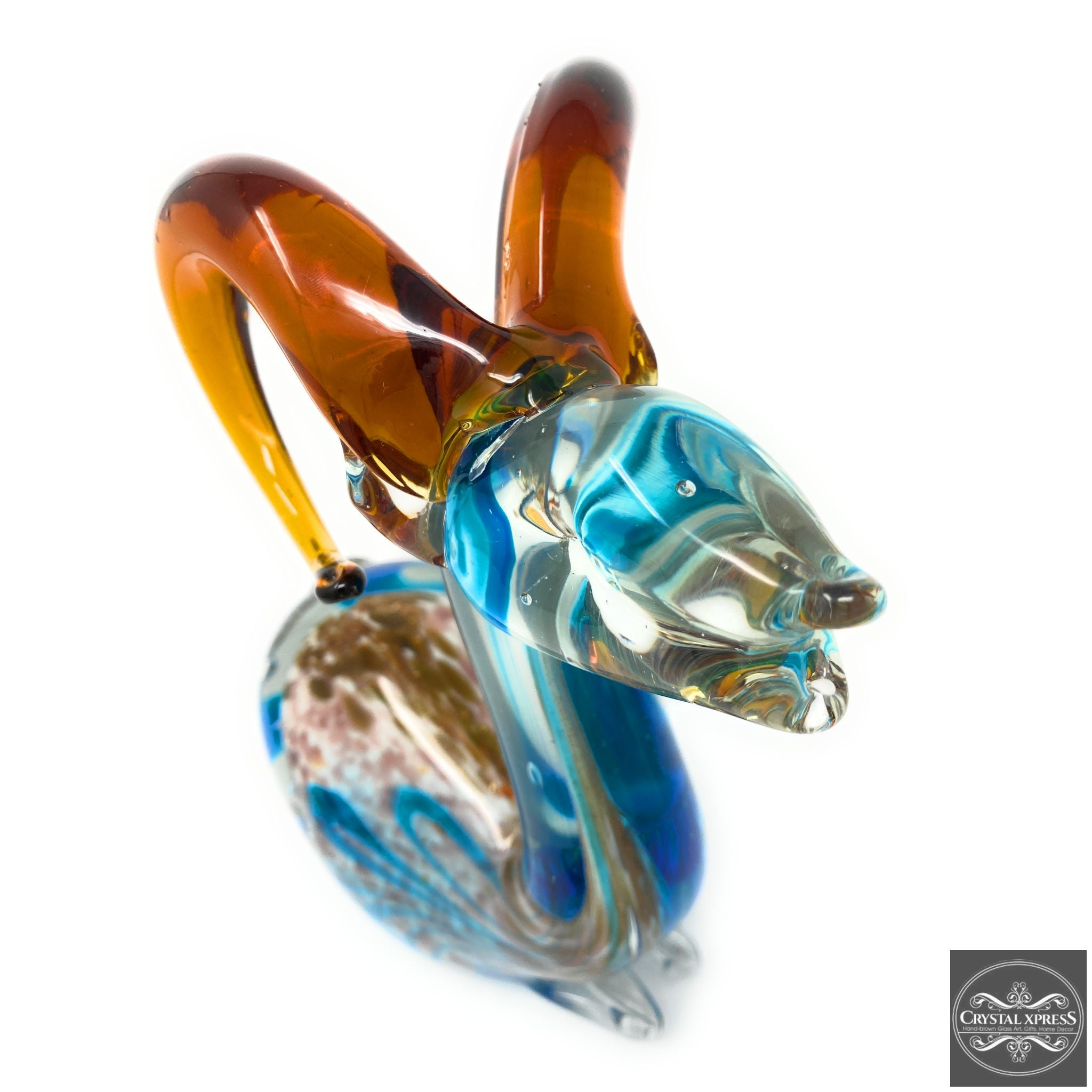 "One of a Kind 9"" Hand Blown Glass Colorful Mountain Deer Sculpture Art"