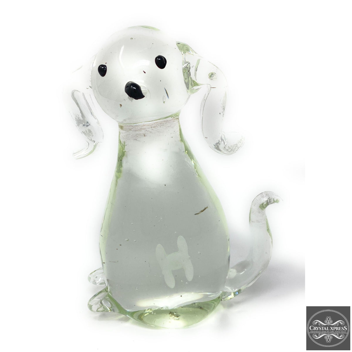 "New 7"" Hand Blown Glass Dog Sculpture with painted white Bone insideCrystal Xpress"