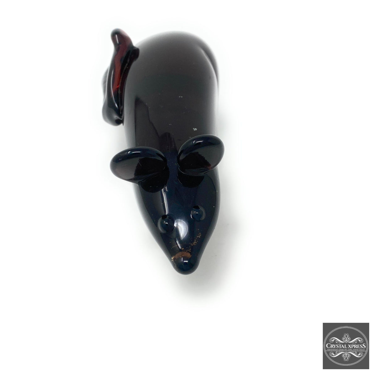"New 8"" Hand Blown Glass Black Rat Mouse Rodent Figurine SculptureCrystal Xpress"
