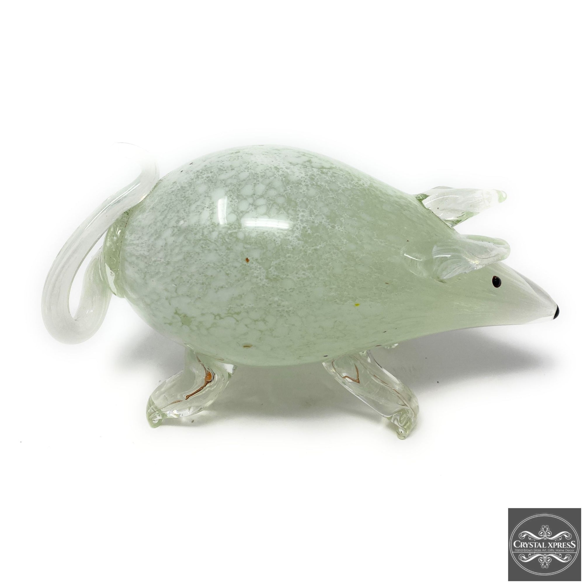 "New 9"" Hand Blown Glass White Mouse Rat Rodent Glass Sculpture FigurineCrystal Xpress"