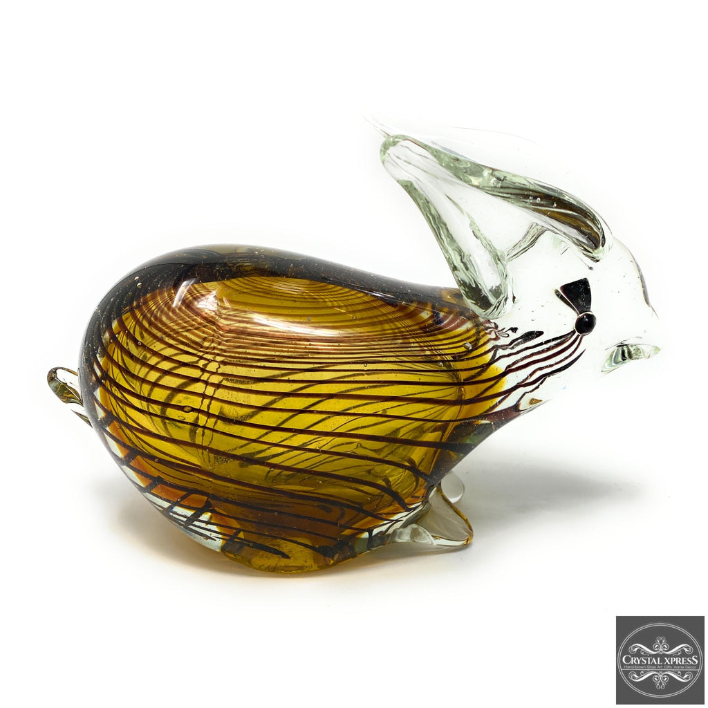 "New 7"" Astonishing Amber Color with Black Stripe Hand Blown Glass Farm Animal Rabbit Sculpture Figurine Art"