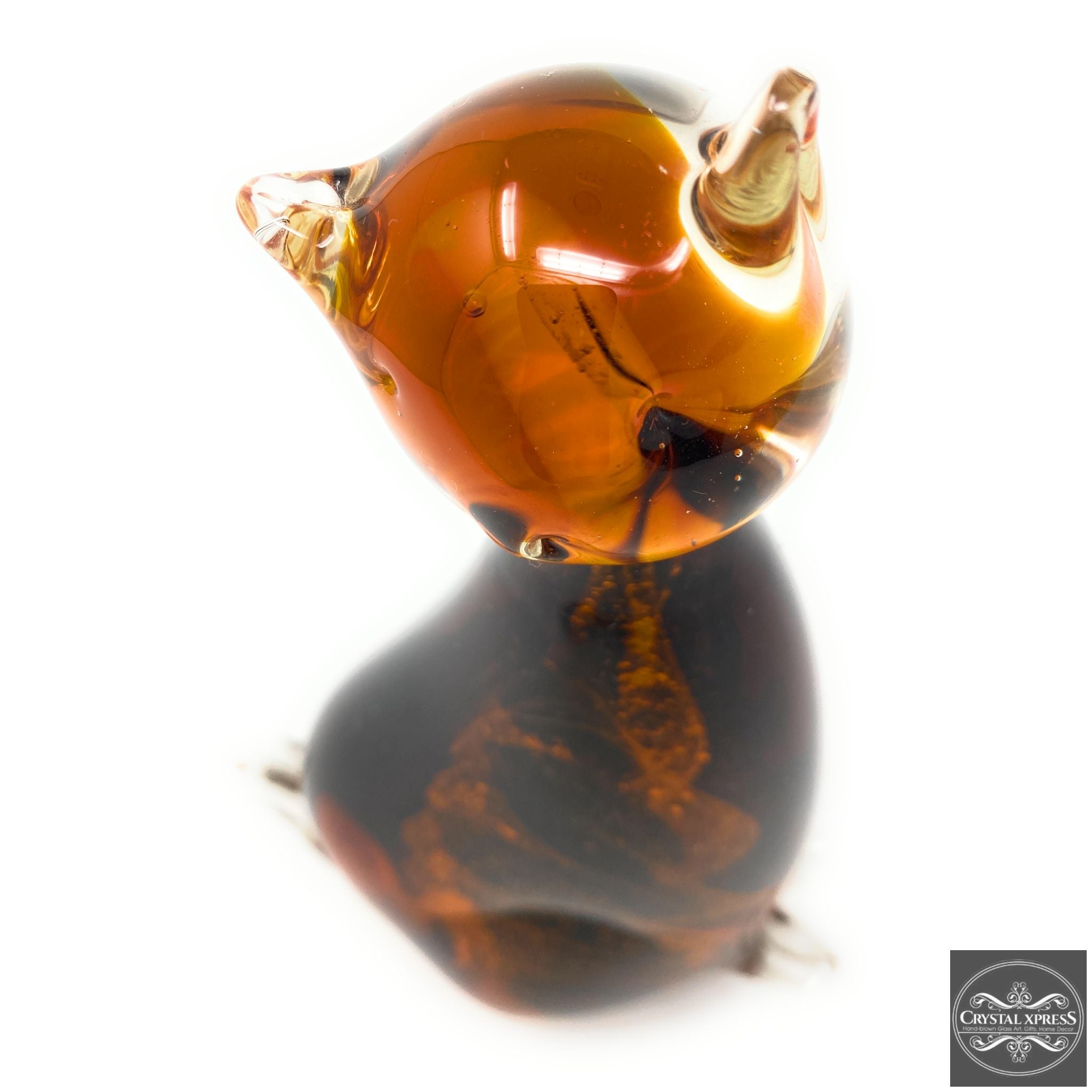 "New 8"" Hand Blown Glass Amber Color Cat Figurine"